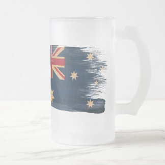 Australia Flag Frosted Glass Beer Mug
