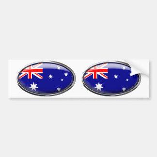 Australia Flag Glass Oval Bumper Sticker
