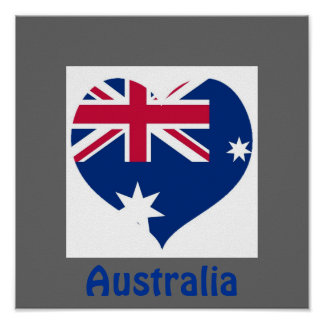 Australia Flag Heart Cutout Border Print