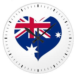 Australia Flag Heart Cutout Wall Clock