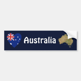 Australia Flag Heart + Map Bumper Sticker