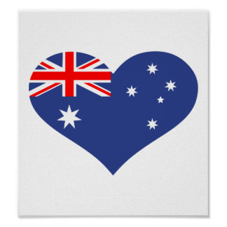 Australia flag heart poster