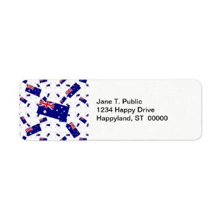 Australia Flag in Multiple Layers Askew Custom Return Address Labels