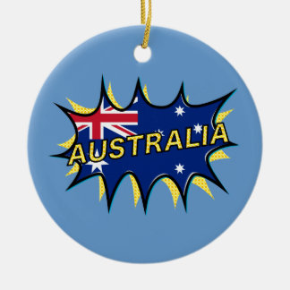 Australia Flag Kapow Comic Style Star Ceramic Ornament