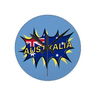 Australia Flag Kapow Comic Style Star Round Clocks