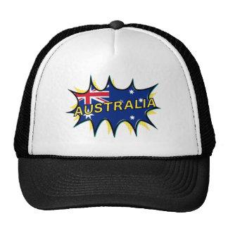 Australia Flag Kapow Comic Style Star Trucker Hat