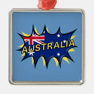 Australia Flag Kapow Comic Style Star Metal Ornament