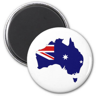 Australia Flag Map full size 2 Inch Round Magnet
