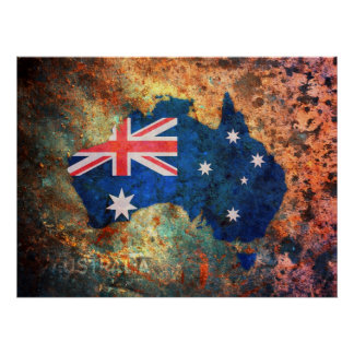 Australia Flag Map Posters