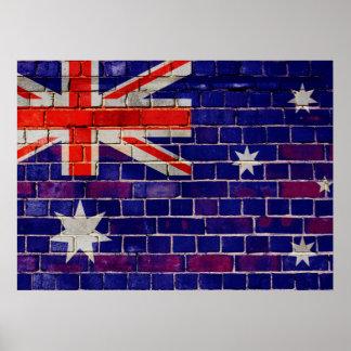 Australia flag on a brick wall poster