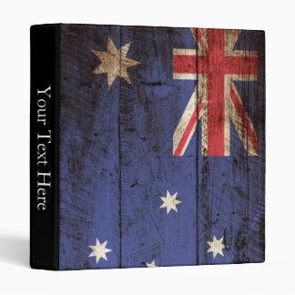 Australia Flag on Old Wood Grain 3 Ring Binder
