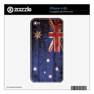 Australia Flag on Old Wood Grain iPhone 4 Decal