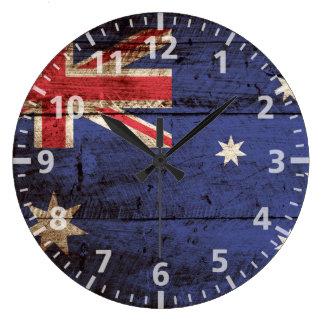 Australia Flag on Old Wood Grain Large Clock