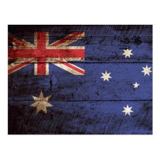Australia Flag on Old Wood Grain Postcard