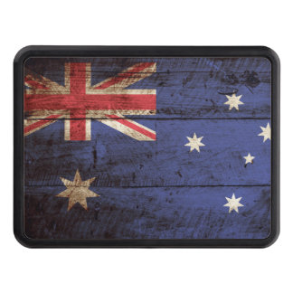 Australia Flag on Old Wood Grain Tow Hitch Cover