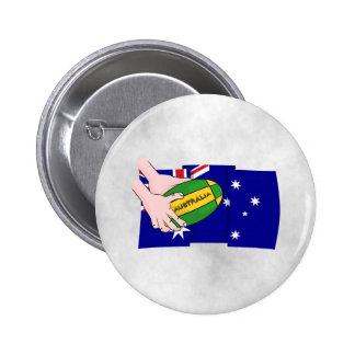 Australia Flag Rugby Ball Cartoon Hands 2 Inch Round Button