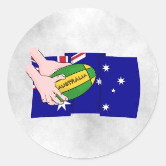 Australia Flag Rugby Ball Cartoon Hands Classic Round Sticker