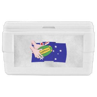 Australia Flag Rugby Ball Cartoon Hands Cooler