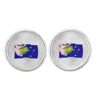 Australia Flag Rugby Ball Cartoon Hands Cufflinks