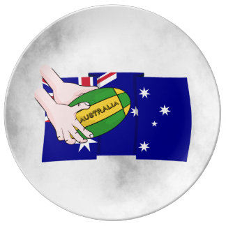 Australia Flag Rugby Ball Cartoon Hands Dinner Plate