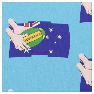 Australia Flag Rugby Ball Cartoon Hands Fabric