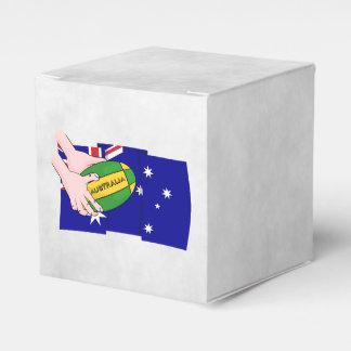 Australia Flag Rugby Ball Cartoon Hands Favor Box