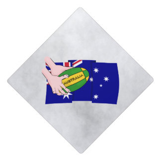 Australia Flag Rugby Ball Cartoon Hands Graduation Cap Topper