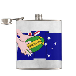 Australia Flag Rugby Ball Cartoon Hands Hip Flask