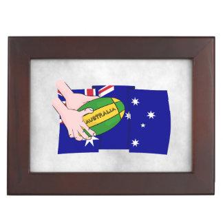 Australia Flag Rugby Ball Cartoon Hands Keepsake Box