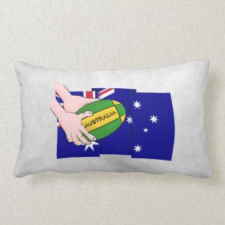 Australia Flag Rugby Ball Cartoon Hands Lumbar Pillow