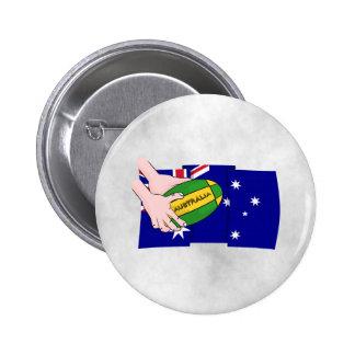 Australia Flag Rugby Ball Cartoon Hands Pinback Button