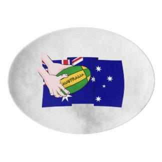 Australia Flag Rugby Ball Cartoon Hands Porcelain Serving Platter