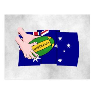 Australia Flag Rugby Ball Cartoon Hands Postcard