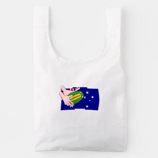 Australia Flag Rugby Ball Cartoon Hands Reusable Bag