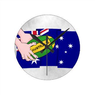 Australia Flag Rugby Ball Cartoon Hands Round Clock