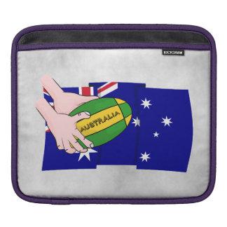 Australia Flag Rugby Ball Cartoon Hands Sleeve For iPads
