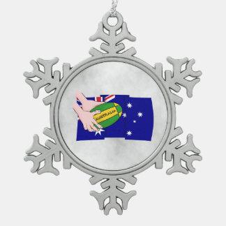 Australia Flag Rugby Ball Cartoon Hands Snowflake Pewter Christmas Ornament