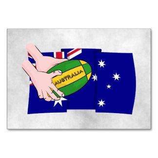 Australia Flag Rugby Ball Cartoon Hands Table Card