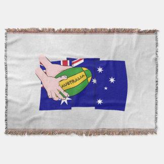 Australia Flag Rugby Ball Cartoon Hands Throw