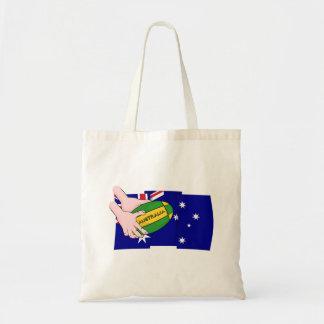 Australia Flag Rugby Ball Cartoon Hands Tote Bag