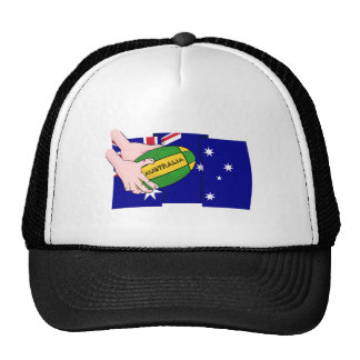 Australia Flag Rugby Ball Cartoon Hands Trucker Hat