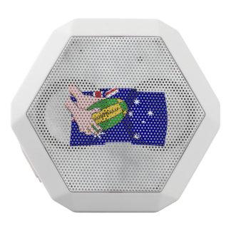 Australia Flag Rugby Ball Cartoon Hands White Bluetooth Speaker