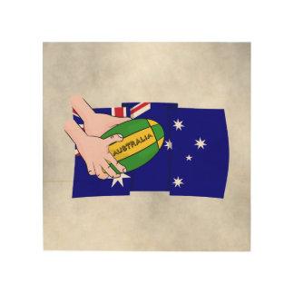 Australia Flag Rugby Ball Cartoon Hands Wood Wall Decor