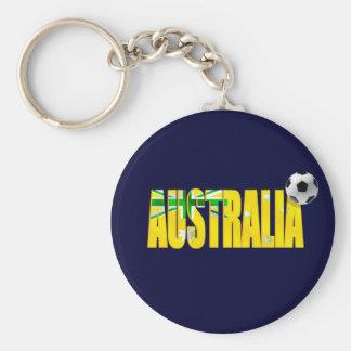 Australia flag soccer ball logo emblem gifts basic round button keychain