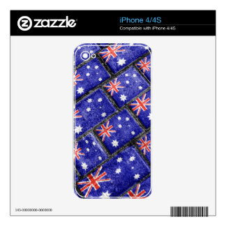 Australia Flag Urban Grunge Pattern Skin For iPhone 4