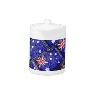 Australia Flag Urban Grunge Pattern Teapot