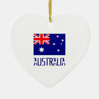 Australia Flag & Word Ceramic Ornament