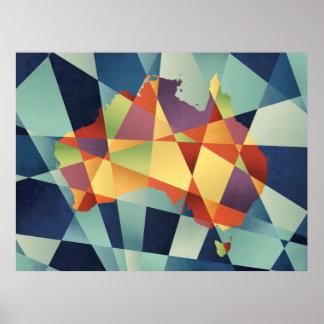 Australia Geometric Retro Map Poster