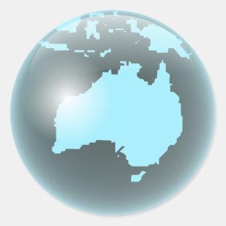 Australia Glass Globe Round Stickers