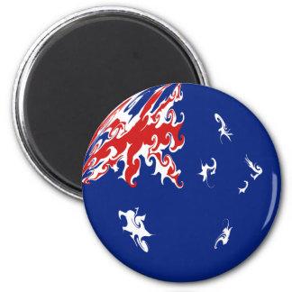 Australia Gnarly Flag 2 Inch Round Magnet